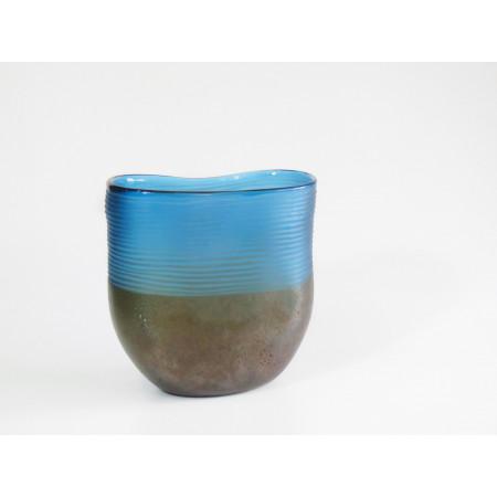 FLORERO CRISTAL BLUE -BROWN GDE MODERN